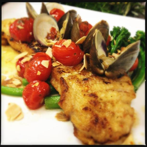 Skate Wing With Brown Butter and Capers - Clams, Fresh Seasonal Vegetables